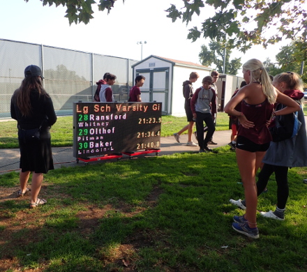 Del Oro XC Invitational, Results display at end of finish line chute, 2019